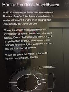 Plaque commemorating the Roman Amphitheater in London.